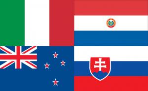 De vlaggen van landen uit Groep F Wk 2010