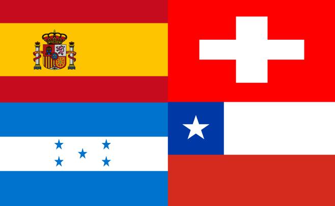 Vlaggen landen van Groep H Wk 2010