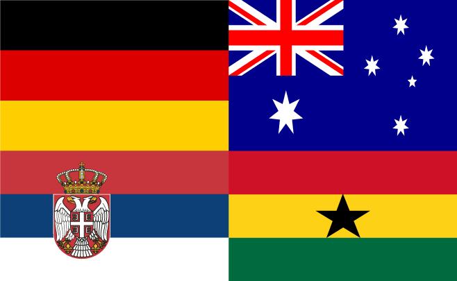 Vlaggen van landen in Groep D WK 2010